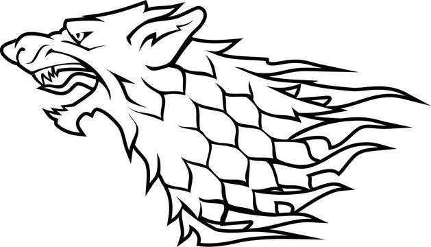 Direwolf Head White Symbol