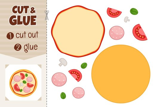 Education paper game for preshool children. Vector illustration of cartoon pizza.