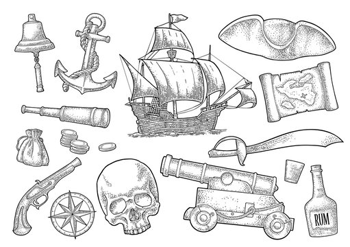 Set pirate adventure. Vector color vintage engraving