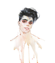 Watercolor portrait of man with makeup
