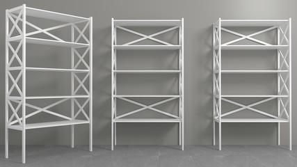 Fototapeta Rack with shelves showcase or wardrobe obraz