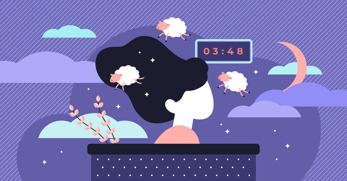 Insomnia vector illustration. Flat tiny sleep time problems persons concept