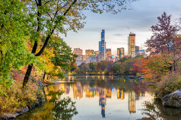 Central Park during autumn in New York City at twilight.
