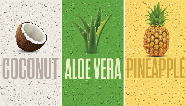 many fresh juice drops background with coconut, pineapple, aloe vera