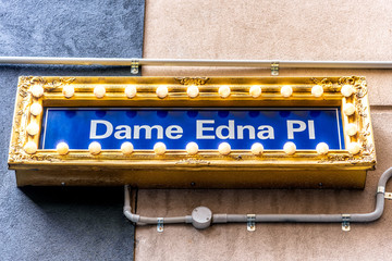 A 'Dane Edna' street sign surrounded by globes in the city of Melbourne, Australia