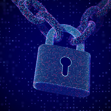 The concept of digital security and data protection: a closed lock on the chain on dark background. Secure storage of personal data. Security of business operations. EPS 10, vector illustration.