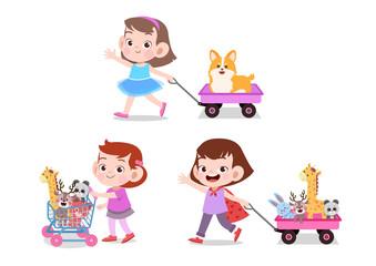 Boy pulling cart full of toys illustration