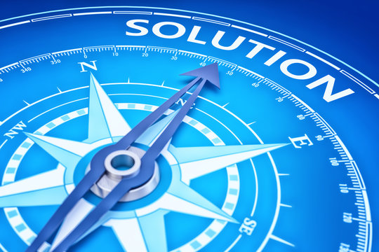 Solution as business strategy concept and marketing goal of management productivity, blue background with a compass pointing to the target