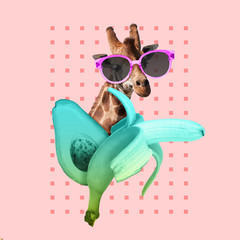 Summer vibes. Chill and resort. Jiraffe with banana and avocado on pink background. Negative space to insert your text. Modern design. Contemporary art. Creative conceptual and colorful collage.