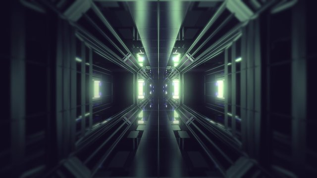 futuristic science-fiction tunnel corridor 3d illustration background