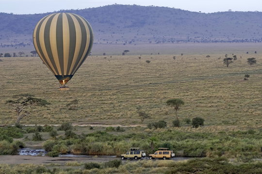 Hot air balloon over river with hippos in Serengeti