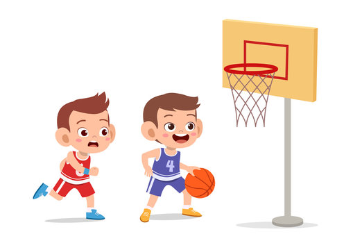 kid boy basketball vector illustration