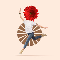 Light and weightless. Female ballet dancer headed by flower dancing on pink background. Negative space to insert your text. Modern design. Contemporary art. Creative conceptual and colorful collage.
