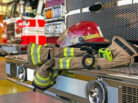 Firefighter gear on the fire truck