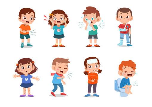 kids sick unhealthy vector illustration