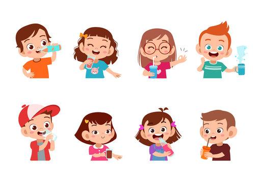 kids drinking isolated vector illustration