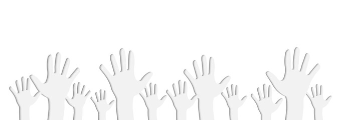 White Illustration of Human Hands Raised Up on Light Gray Background Paper Cutout