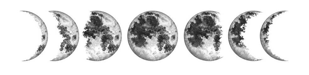 Moon phases isolated on white background. Watercolor hand drawn illustration. Wall mural