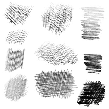 Hand drawn pencil texture set, different shapes.