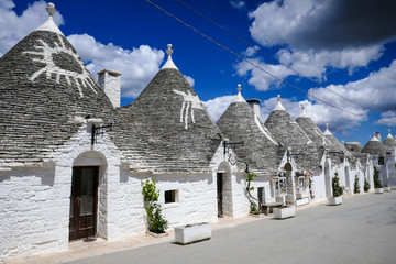 Typical trulli houses with conical roof in Alberobello, Apulia, southern Italy