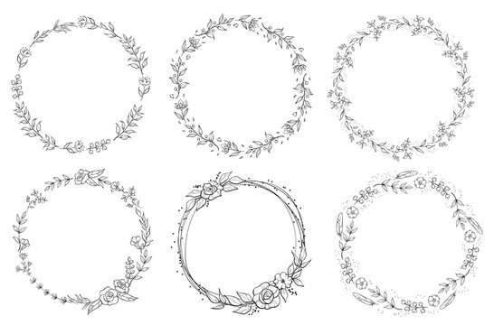 Floral black and white Frame Collection in line style. Set of cute retro leaf arranged un a shape of the wreath