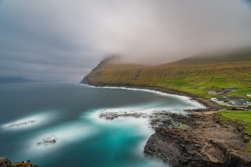 Dramatic long exposure of Faroe islands at Gjov gorje