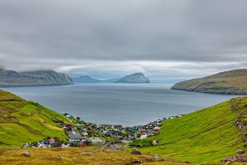 Faroe islands village near fjord, top view
