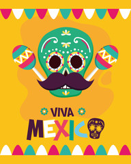 sugar skull maracas mustache celebration viva mexico
