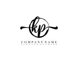 KP Initial handwriting logo with circle hand drawn template vector