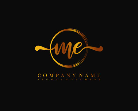 ME Initial handwriting logo with circle hand drawn template vector