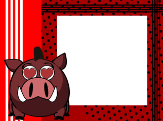 kawaii wild boar cartoon picture frame background