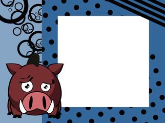 kawaii wild boar cartoon picture frame background