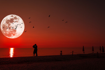 Silhouette of a kissing couple under full moon at sunset