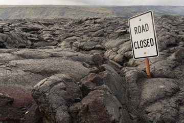 Road Closed, street sign, road blocked by lava flow, Chain of Craters Road, Pahoa, Hawaii, Big Island, USA, North America