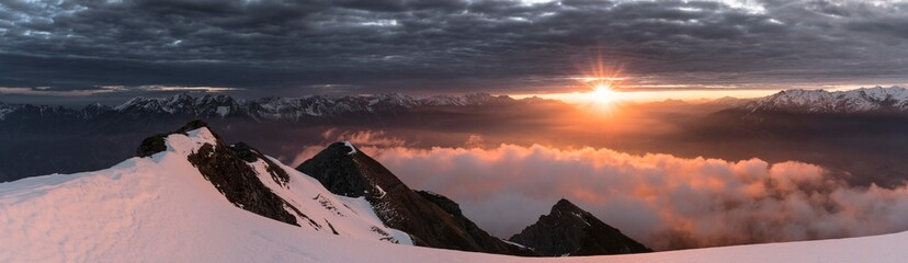 Sunrise over the Alps, seen from the Saile or Nockspitze, with clouds in the Inn Valley, Innsbruck, Tyrol, Austria, Europe