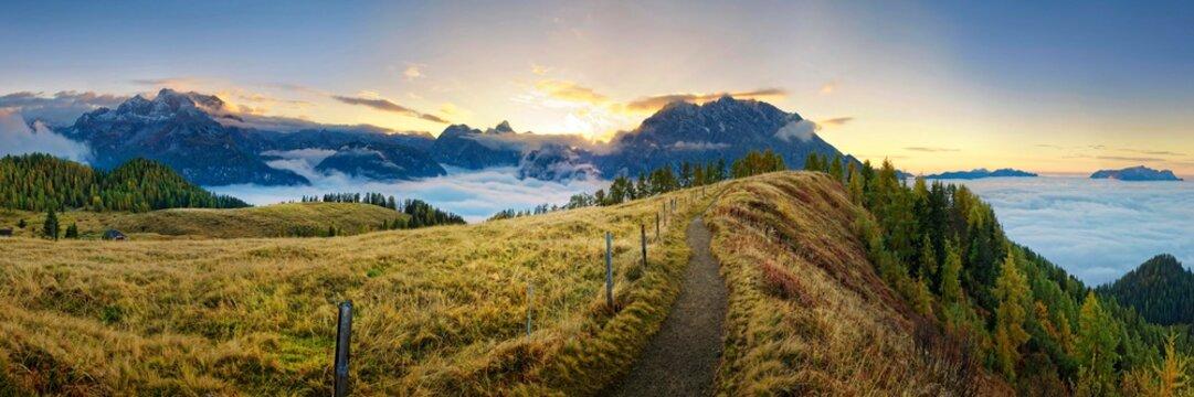 Mountain panorama Berchtesgardener Alps with Watzmann east wall at sunset, viewpoint Feuerpalfen, Berchdesgarden National Park, Schˆnau am Kˆnigssee, Berchtesgaden, Bavaria, Germany, Europe
