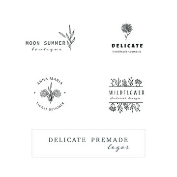 Collection of Hand Drawn Logo with Wild Flower and Leaves. Botanical element