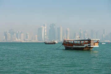 Fotobehang Hong-Kong Traditional wooden dhow in Doha, Qatar, Middle East