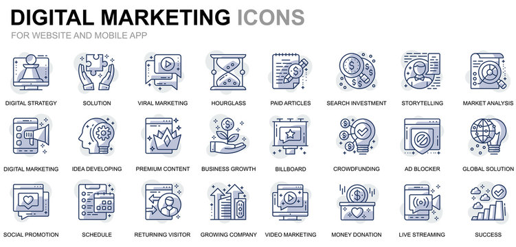 Simple Set Business and Marketing Line Icons for Website and Mobile Apps. Contains such Icons as Digital Strategy, Global Solution, Market. Conceptual color line icon. Vector pictogram pack.