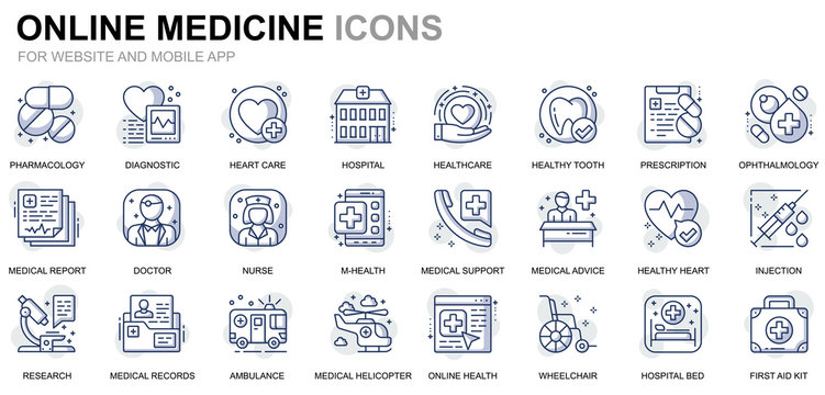 Simple Set Healthcare and Medical Line Icons for Website and Mobile Apps. Contains such Icons as Ambulance, First Aid, Research, Hospital. Conceptual color line icon. Vector pictogram pack.