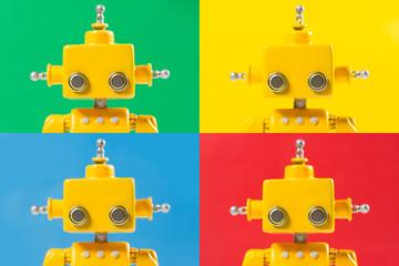 Pop Art like Portrait of a Cute, yellow, handmade robot various backgrounds.