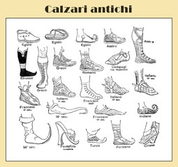 History of antique footwear from Egyptian times, illustrated table with Italian descriptions from a lexicon early '900