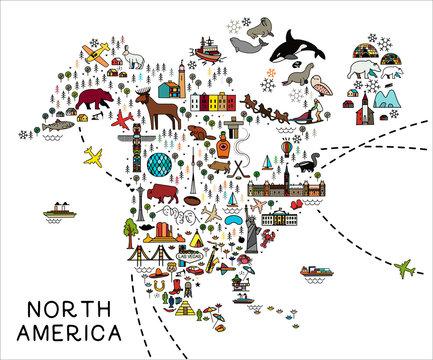 Cartoon map of North America. North America travel guide.
