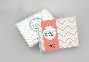 Stacked Clear Horizontal Boxes with Stationery Mockup