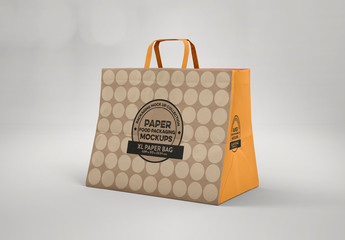 Large Closed Paper Bag with Flat Handles Mockup