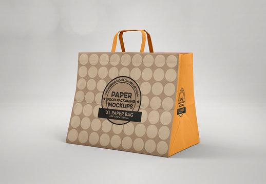 Large Closed Paper Bag with Flat Handles Mockup