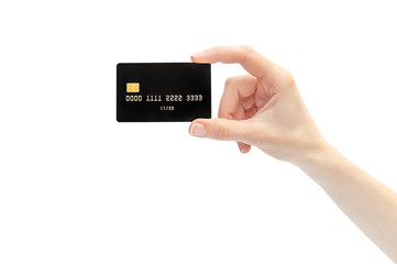 Woman's hand holding credit card. Isolated on white.