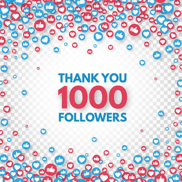 Thank you 1000 followers background. Social media concept. 1k followers celebration banner. Like and thumbs up. Achievement poster. Counter notification icons. Vector illustration