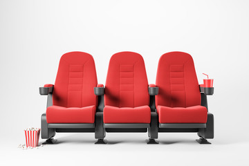 Three red cinema chairs on white background