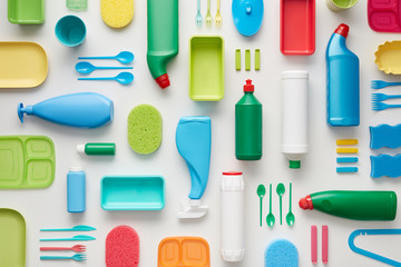 Seamless photo of plastic objects in order.